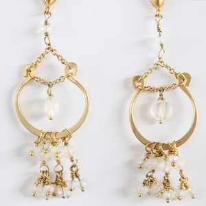 Gold and Iridescent Dangle Earrings